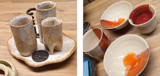 Keramik mit Dellen, Tropfen und verschiedenen Oberflächen